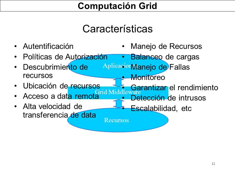 Características Computación Grid Autentificación