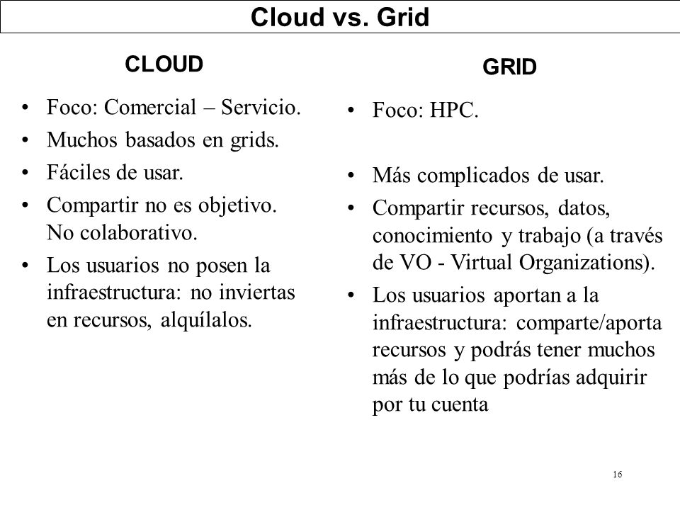 Cloud vs. Grid CLOUD GRID Foco: Comercial – Servicio. Foco: HPC.