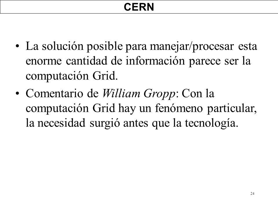CERN La solución posible para manejar/procesar esta enorme cantidad de información parece ser la computación Grid.