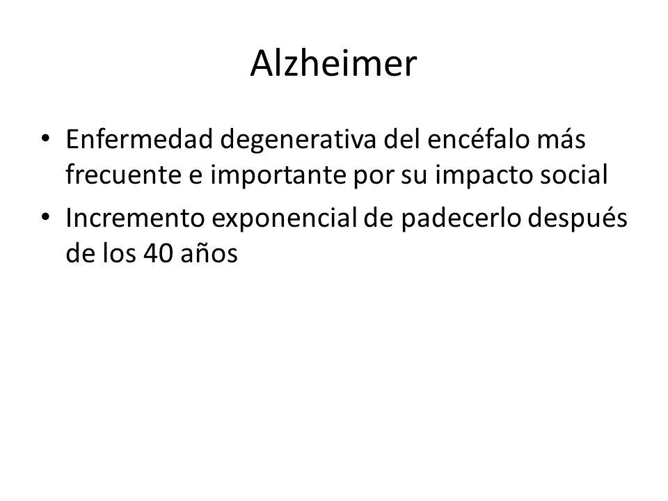 Alzheimer Enfermedad degenerativa del encéfalo más frecuente e importante por su impacto social.