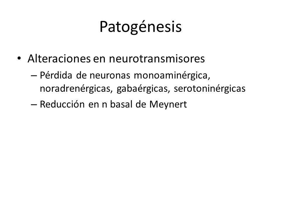 Patogénesis Alteraciones en neurotransmisores