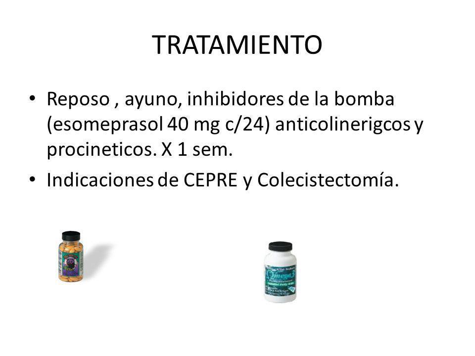 TRATAMIENTO Reposo , ayuno, inhibidores de la bomba (esomeprasol 40 mg c/24) anticolinerigcos y procineticos. X 1 sem.