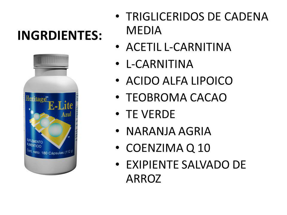 INGRDIENTES: TRIGLICERIDOS DE CADENA MEDIA ACETIL L-CARNITINA