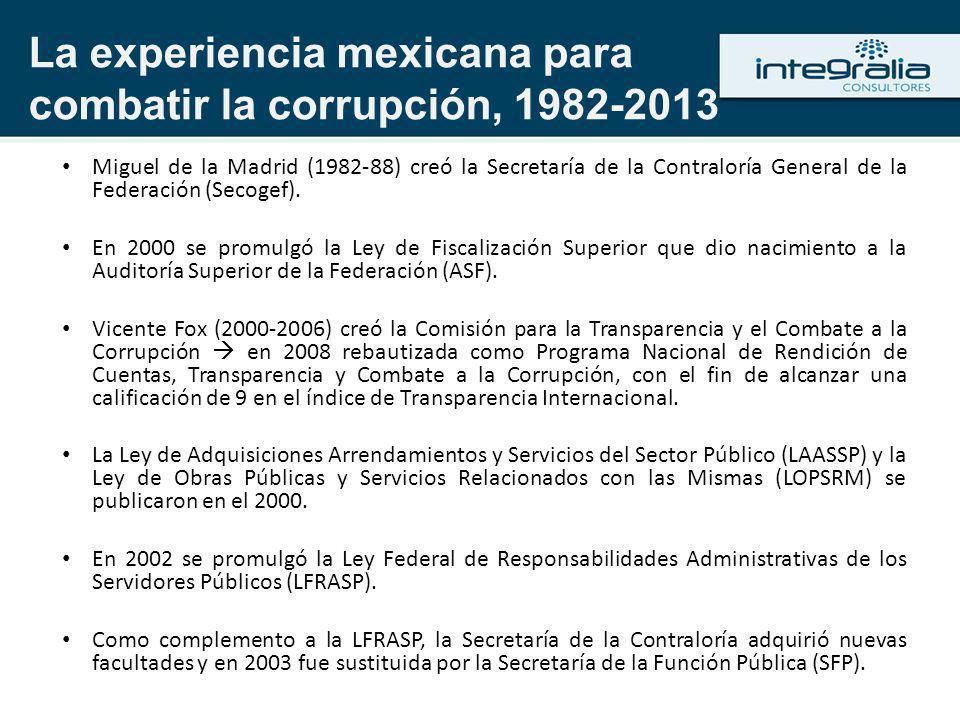 La experiencia mexicana para combatir la corrupción, 1982-2013