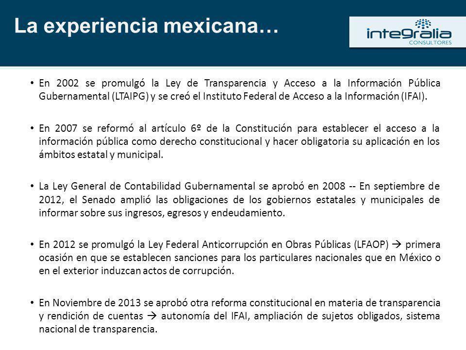 La experiencia mexicana…