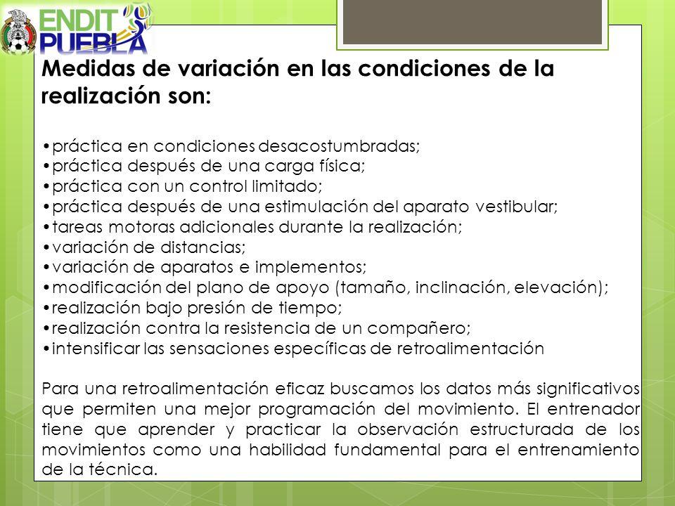 Medidas de variación en las condiciones de la realización son: