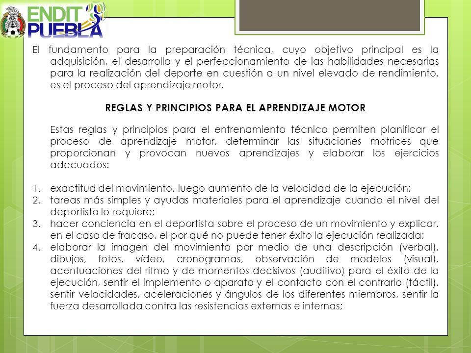 REGLAS Y PRINCIPIOS PARA EL APRENDIZAJE MOTOR