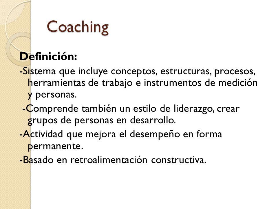 Coaching Definición: -Sistema que incluye conceptos, estructuras, procesos, herramientas de trabajo e instrumentos de medición y personas.