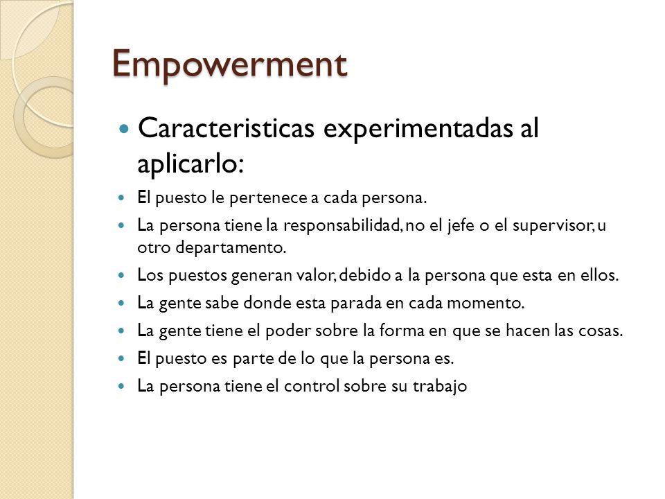 Empowerment Caracteristicas experimentadas al aplicarlo: