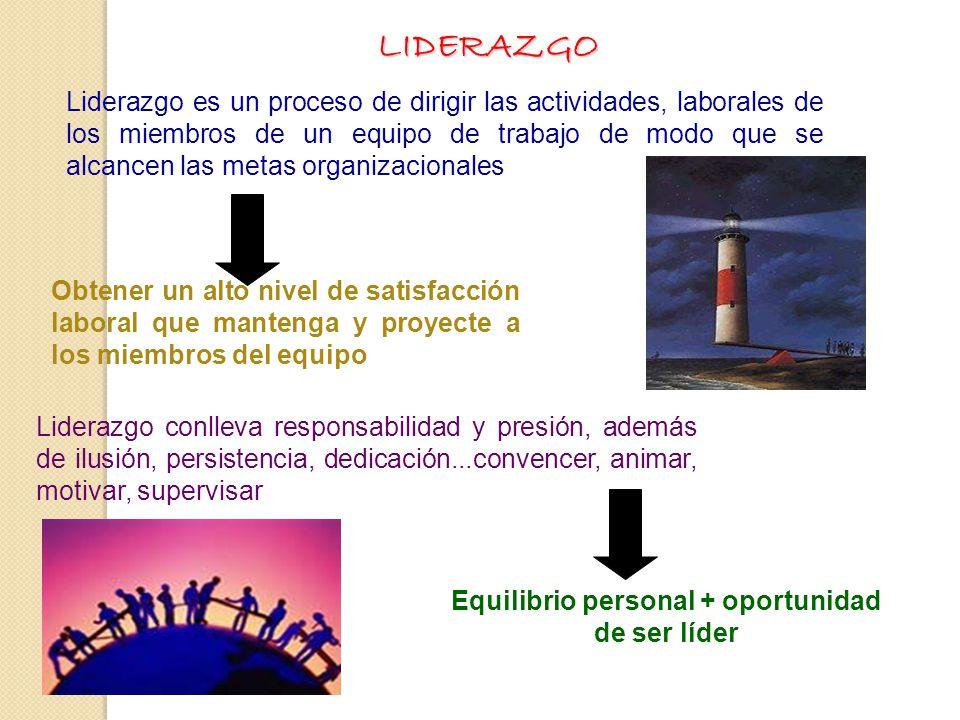 Equilibrio personal + oportunidad de ser líder