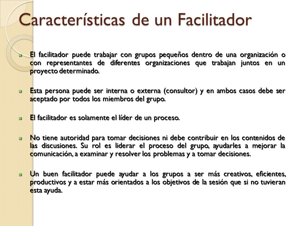 Características de un Facilitador