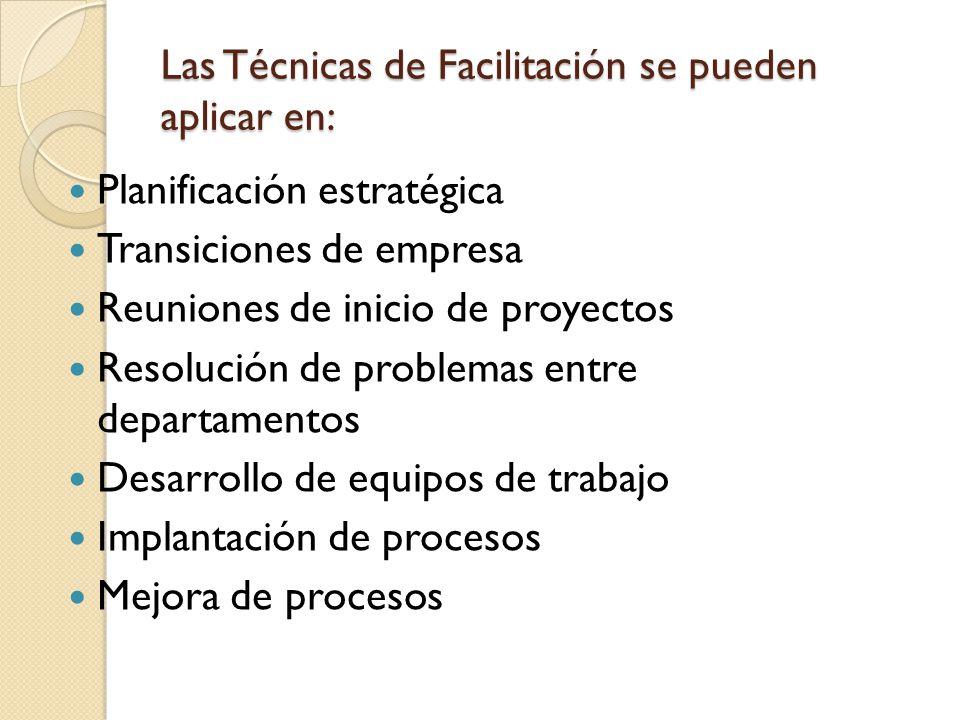 Las Técnicas de Facilitación se pueden aplicar en: