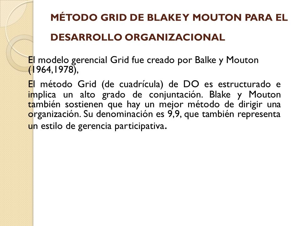 MÉTODO GRID DE BLAKE Y MOUTON PARA EL DESARROLLO ORGANIZACIONAL