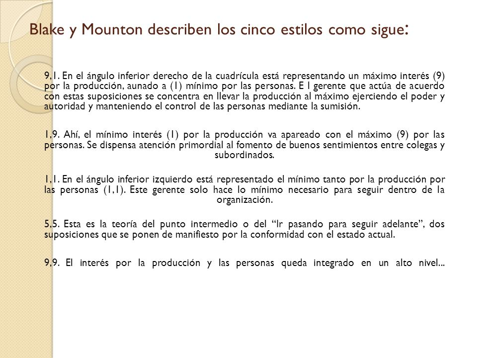 Blake y Mounton describen los cinco estilos como sigue: