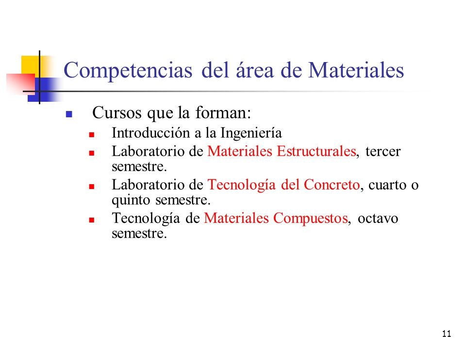 Competencias del área de Materiales