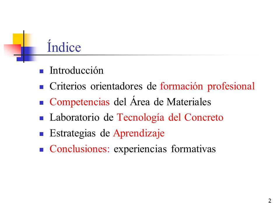 Índice Introducción Criterios orientadores de formación profesional