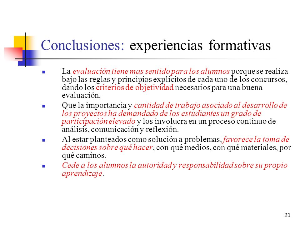 Conclusiones: experiencias formativas