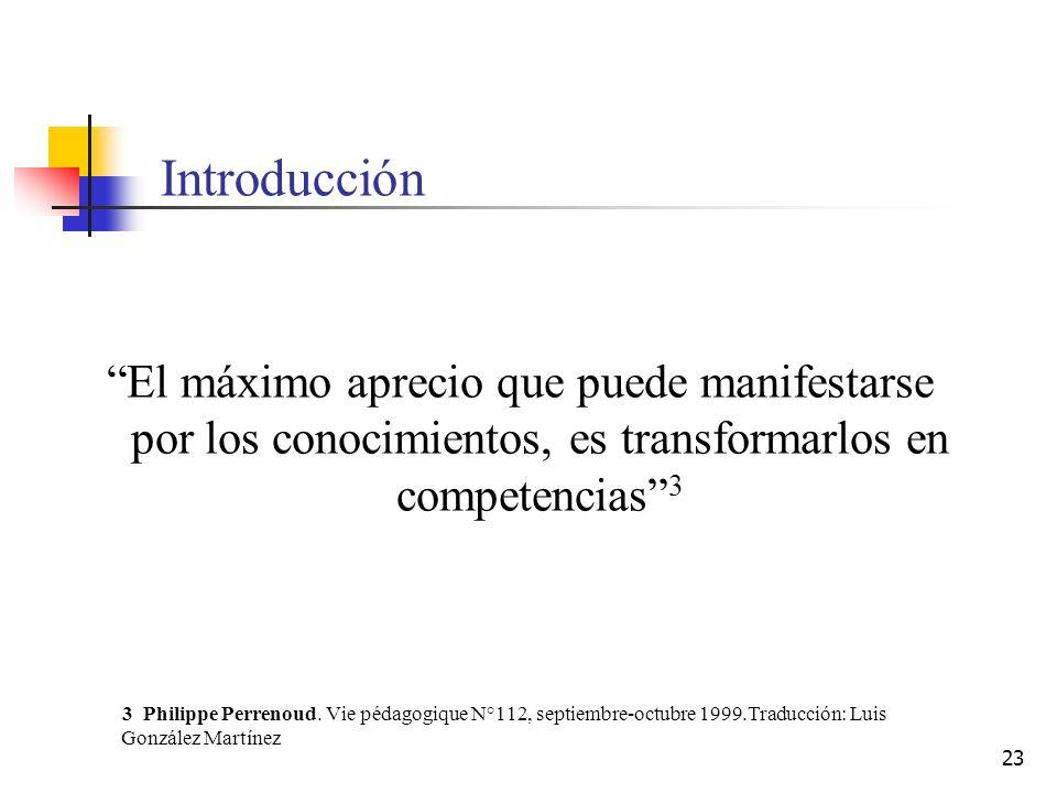 Introducción El máximo aprecio que puede manifestarse por los conocimientos, es transformarlos en competencias 3.