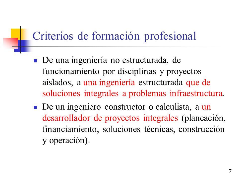 Criterios de formación profesional