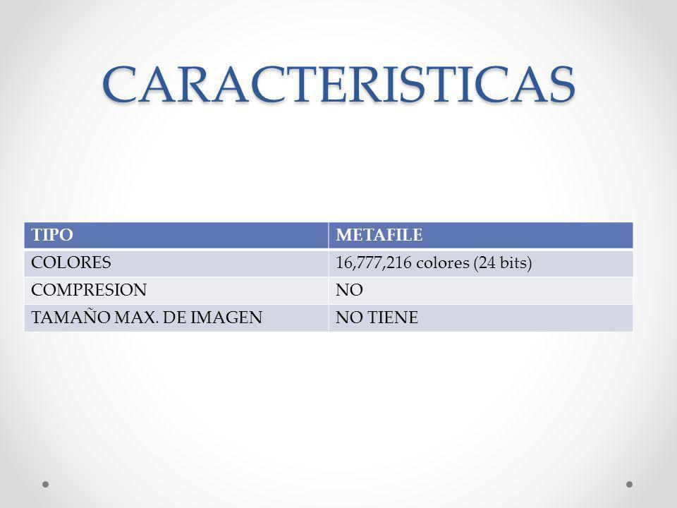 CARACTERISTICAS TIPO METAFILE COLORES 16,777,216 colores (24 bits)