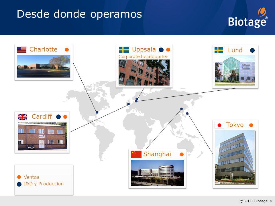 Desde donde operamos Charlotte Uppsala Lund Cardiff Tokyo Shanghai
