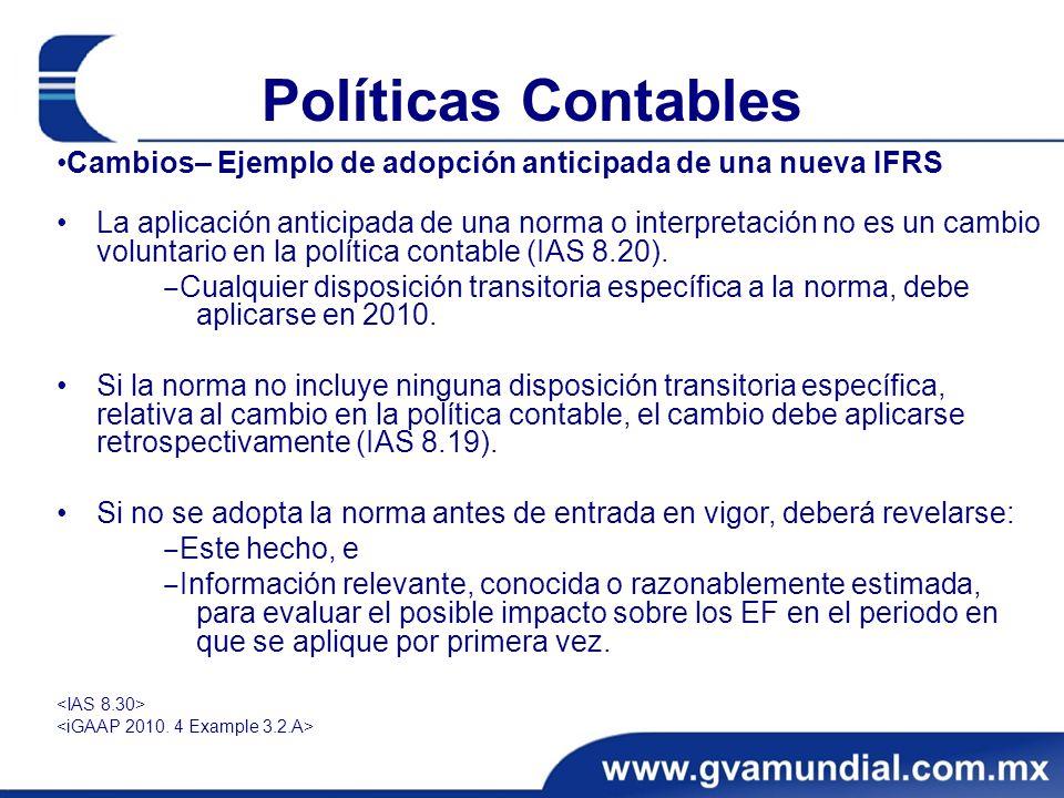 Políticas Contables •Cambios– Ejemplo de adopción anticipada de una nueva IFRS.