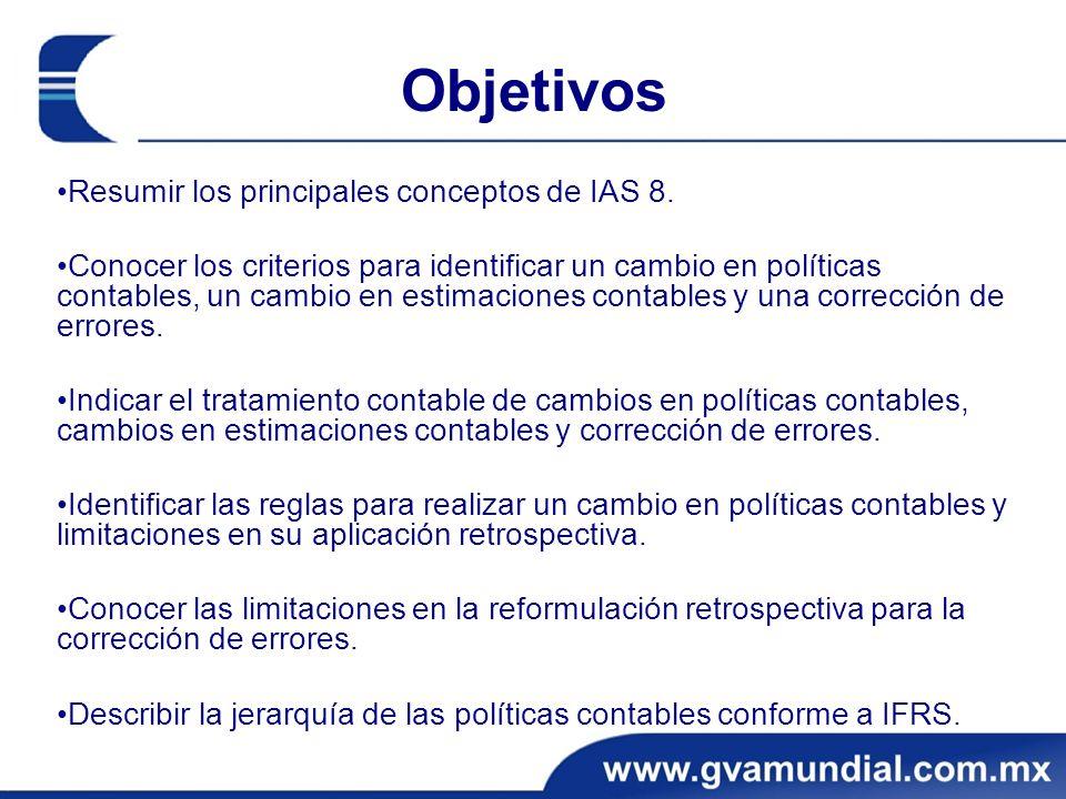 Objetivos •Resumir los principales conceptos de IAS 8.