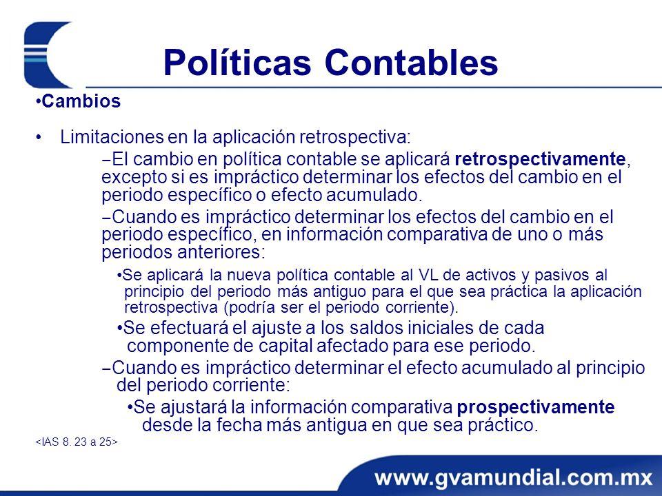 Políticas Contables •Cambios