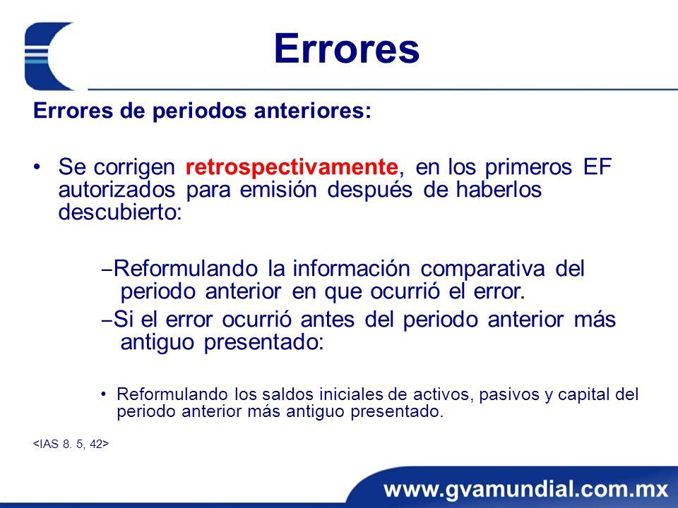 Errores Errores de periodos anteriores: Se corrigen retrospectivamente, en los primeros EF autorizados para emisión después de haberlos descubierto: