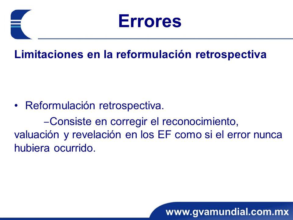 Errores Limitaciones en la reformulación retrospectiva