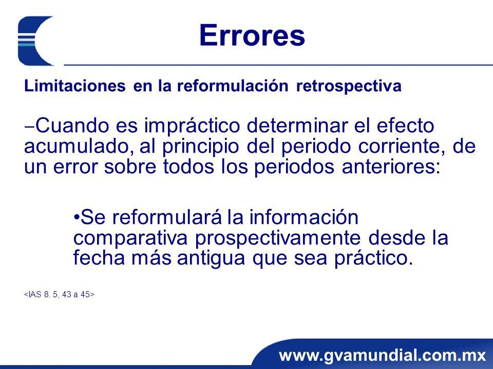Errores Limitaciones en la reformulación retrospectiva.