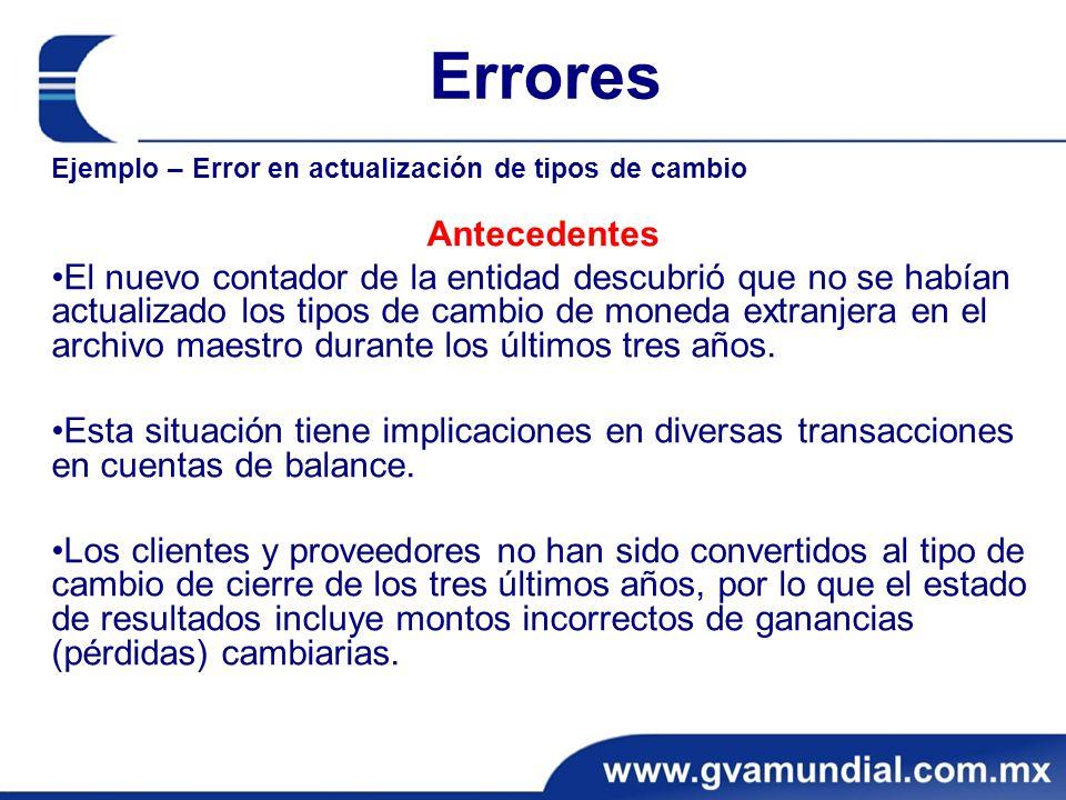 Errores Ejemplo – Error en actualización de tipos de cambio. Antecedentes.