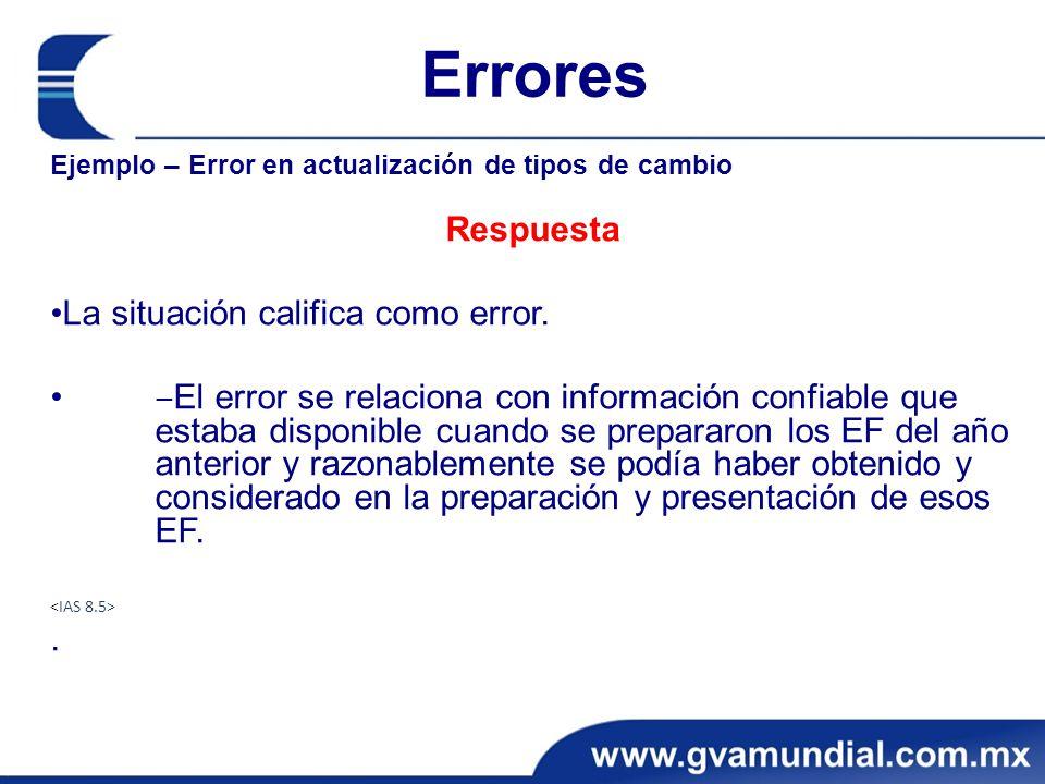Errores Respuesta •La situación califica como error.