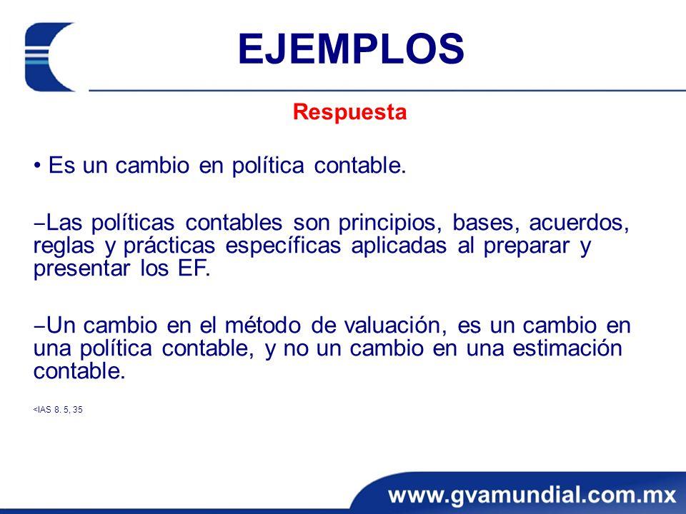 EJEMPLOS • Es un cambio en política contable.