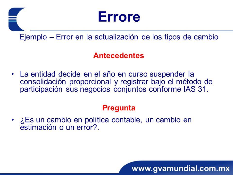 Ejemplo – Error en la actualización de los tipos de cambio