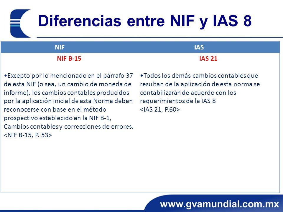 Diferencias entre NIF y IAS 8