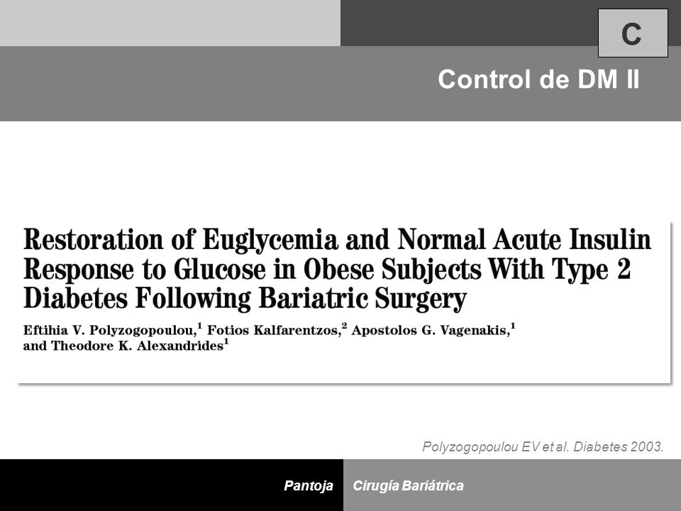 C Control de DM II Polyzogopoulou EV et al. Diabetes 2003.