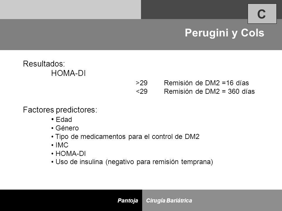 C Perugini y Cols Resultados: HOMA-DI >29 Remisión de DM2 =16 días