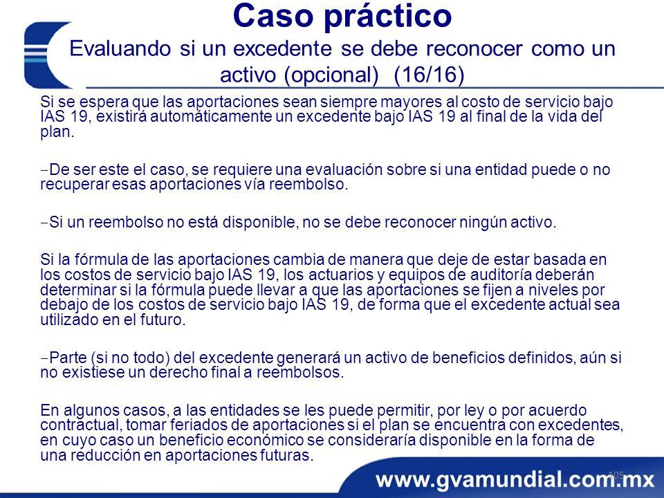 Caso práctico Evaluando si un excedente se debe reconocer como un activo (opcional) (16/16)