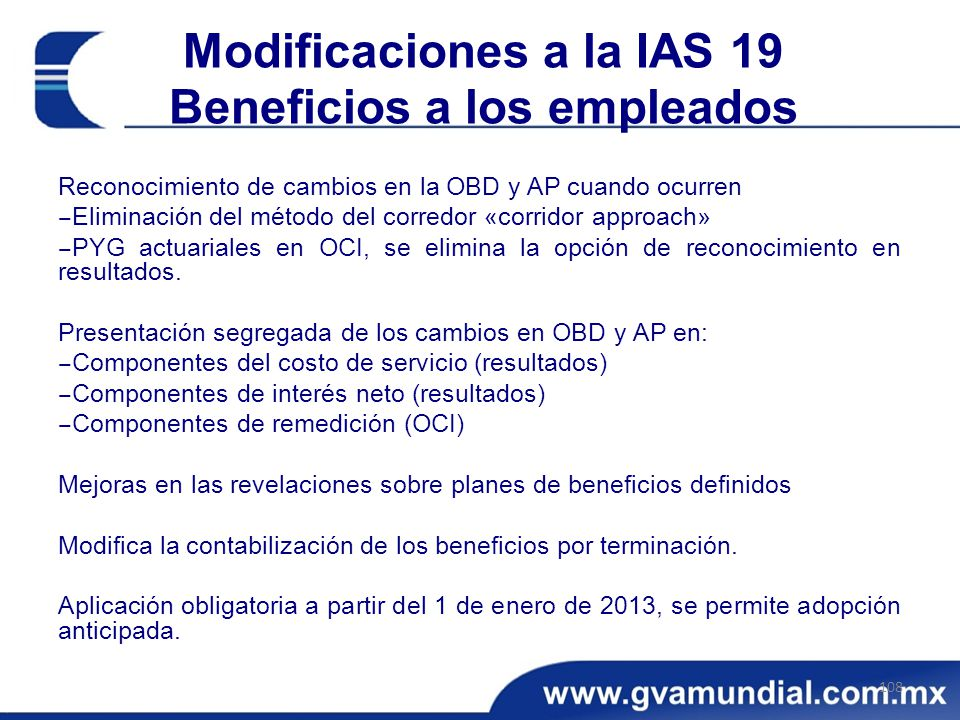 Modificaciones a la IAS 19 Beneficios a los empleados