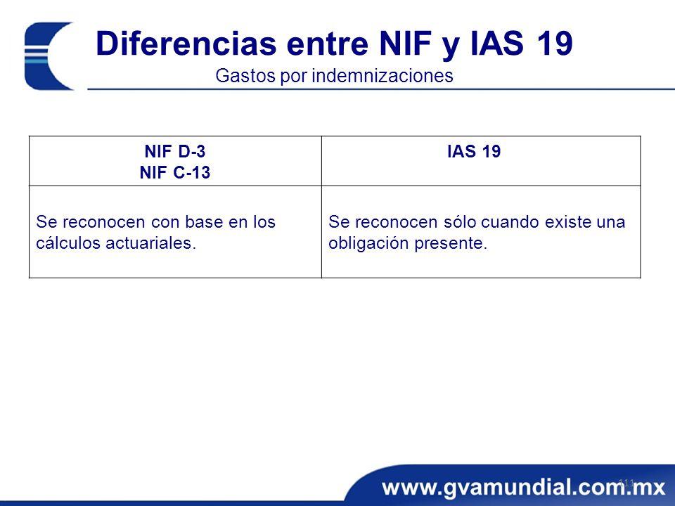 Diferencias entre NIF y IAS 19 Gastos por indemnizaciones
