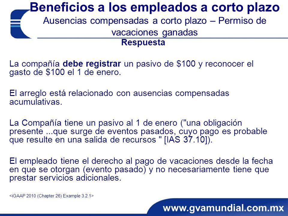 Beneficios a los empleados a corto plazo Ausencias compensadas a corto plazo – Permiso de vacaciones ganadas