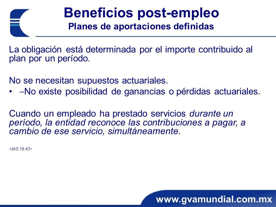 Beneficios post-empleo Planes de aportaciones definidas