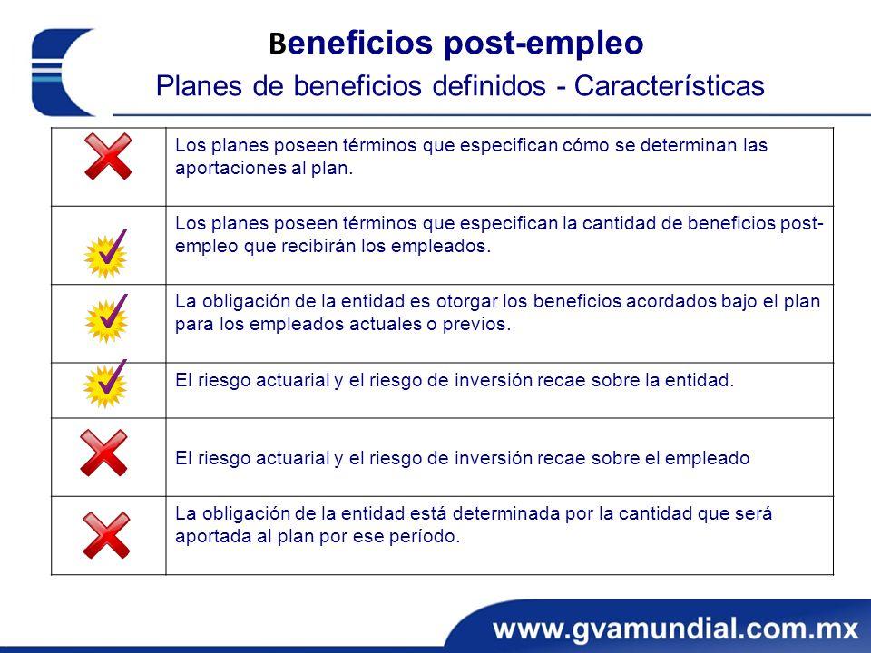 Beneficios post-empleo Planes de beneficios definidos - Características
