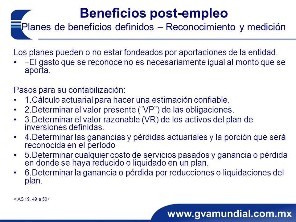 Beneficios post-empleo Planes de beneficios definidos – Reconocimiento y medición