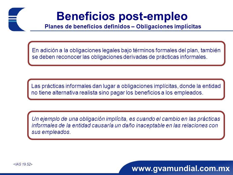 Beneficios post-empleo Planes de beneficios definidos – Obligaciones implícitas