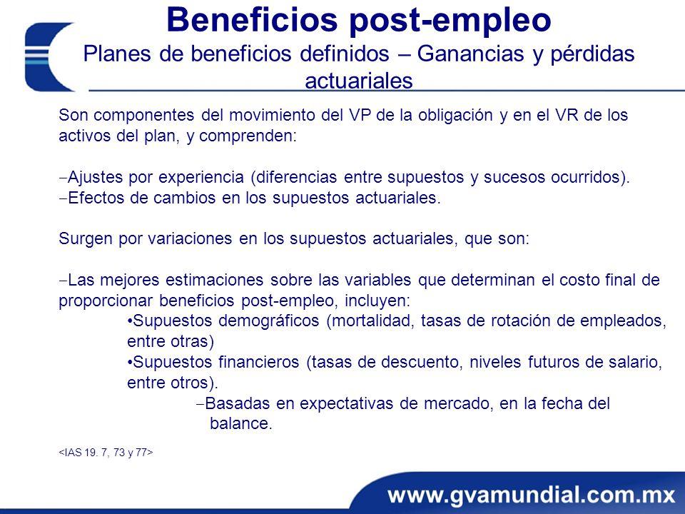 Beneficios post-empleo Planes de beneficios definidos – Ganancias y pérdidas actuariales