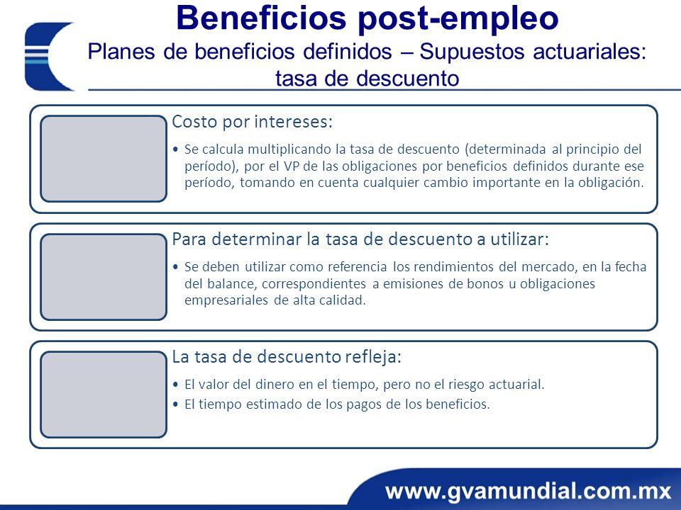 Beneficios post-empleo Planes de beneficios definidos – Supuestos actuariales: tasa de descuento