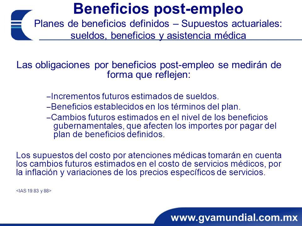 Beneficios post-empleo Planes de beneficios definidos – Supuestos actuariales: sueldos, beneficios y asistencia médica