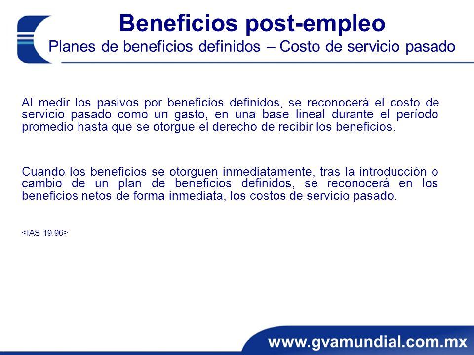 Beneficios post-empleo Planes de beneficios definidos – Costo de servicio pasado